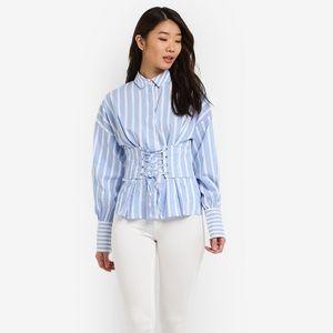 Topshop Wide Stripe Corset Shirt